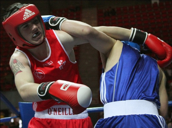 Joe Ward (red) versus Deni Rybak Kazakhstan