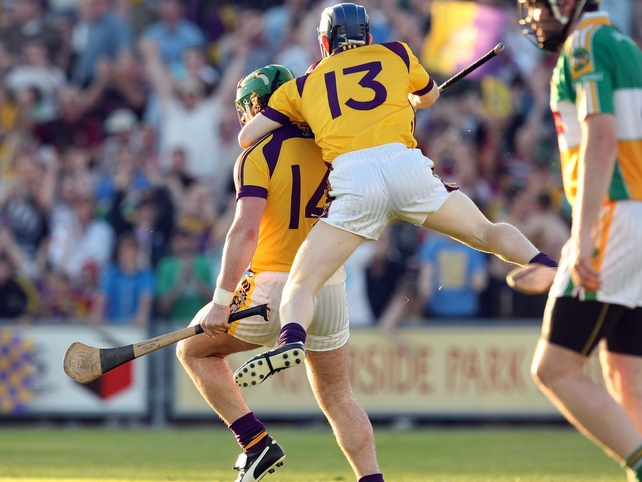 Wexford goalscorer Stephen Banville is congratulated by Rory Jacob