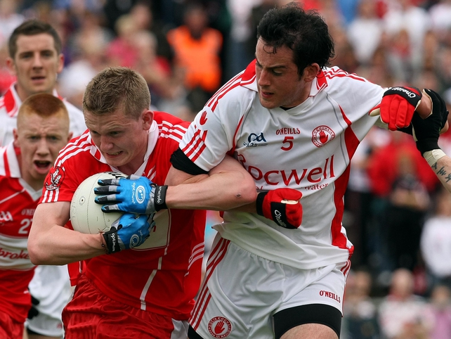 Derry were in contention for long spells of the game but Tyrone pulled away in the final quarter, especially when the Oak Leafers were reduced to 14 men