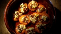 Baked Apricots with Almonds and White Chocolate - A great recipe for the end of summer when there is a glut of apricots - very simple and very fast.