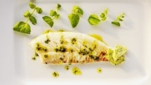 Baked Turbot with Watercress Butter