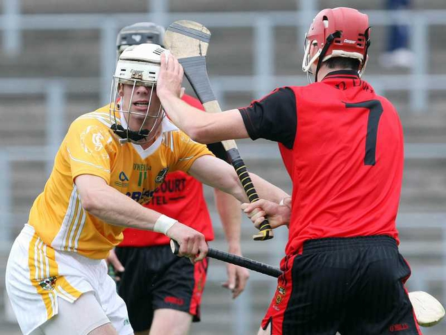 Down's Michael Ennis closes the curtains on Antrim's Niall McManus