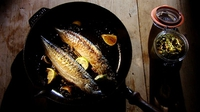 Fresh Mackerel, Served with a Hybrid Sauce Verte Pesto - Mackerel's a great fish for a weekday supper when you don't have a lot of time ahead of you and you want something really full of vitamins and nice and fat and juicy and tasty.