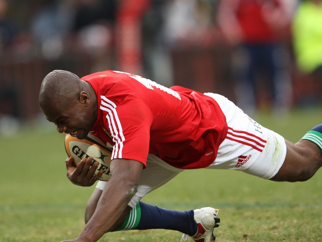 Ugo Monye touches down for the Lions' third try at Ellis Park