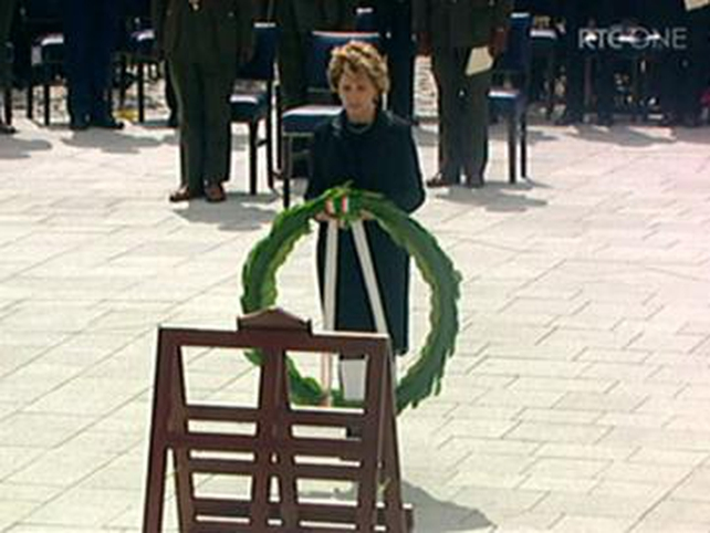 President McAleese - Lays wreath at ceremony