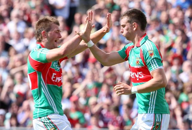 Mayo's Aidan O'Shea (left) and Barry Moran celebrate