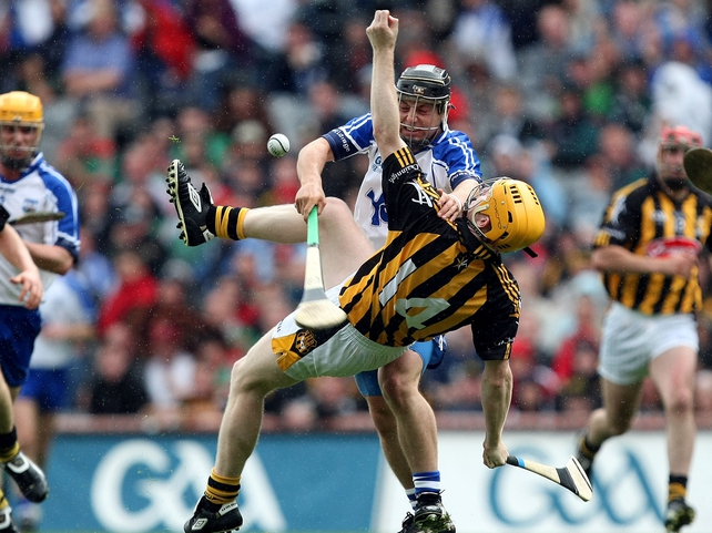 Kilkenny's Richie Power and Waterford's Noel Connors in the heat of battle at Croke Park