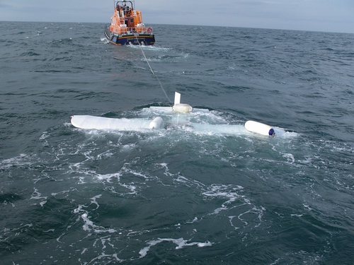 Rosslare - Plane wreckage towed to harbour - Pic: RNLI/Brian Kehoe