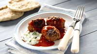 Greek-style Meatballs in Tomato Sauce with Minted Yogurt - Give the humble meatball a Mediterranean makeover with Garth McColgan's recipe!
