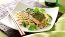 Pesto Salmon With Noodles