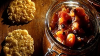 Tomato Chutney with Parmesan Crisps - Chutney! The word conjures up autumn and the one season when work expended earlier in the year promises a welcome abundance of fruit and vegetables. So here goes for a sharp and tasty autumnal treat.