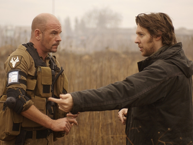 Director Neill Blomkamp (right) and star David James on set