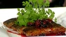 Seared Sliced Mackerel Fillets with Blackberry Vinaigrette and Orange Crème Fraiche