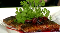 Seared Sliced Mackerel Fillets with Blackberry Vinaigrette and Orange Crème Fraiche - Serve with a nice salad.