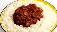 Mild Lamb Curry with Naan Bread and Boiled Rice - Guaranteed to give you one of those big 'mouth full' smiles.