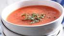Chilled Roasted Tomato Soup with Basil Pesto