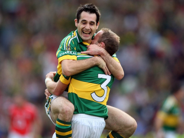 Tom O'Sullivan and Tommy Griffin (3) celebrate Kerry's 36th All-Ireland final success