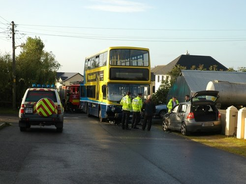 Corr's Lane - Bus & car crashed - Pic: Mary Maxwell