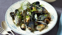 Steamed Mussels with Cream and Herbs - A great big bowl of steaming mussels in the centre of the table is a tempting treat for everyone!