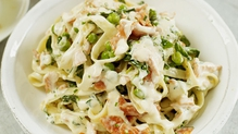 Tagliatelle with Smoked Salmon, Watercress and Peas