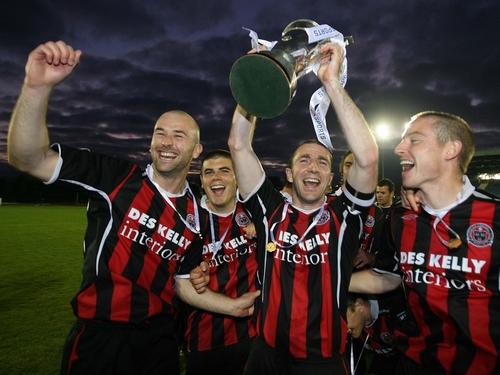 Some Bohs players celebrate the club's third success in the EA Sports Cup, formerly known as the League Cup