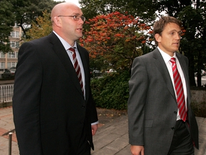 John Hayes and Munster team manager Shaun Payne arrive at the hearing