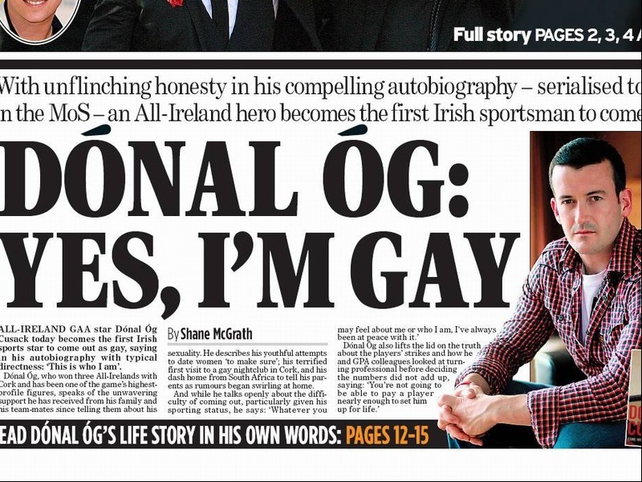 The front page of the Irish Mail on Sunday