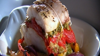 Roasted Mediterranean Monkfish with Pesto Trapanese - Monkfish roasted with Mediterranean vegetables and pesto.