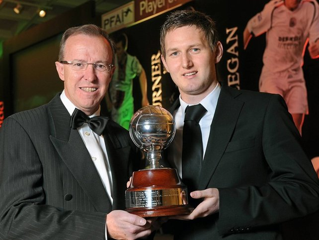 Gary Twigg is presented with his award