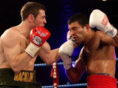 Matthew Macklin connect with a left-hand in the entertaining contest at the National Stadium