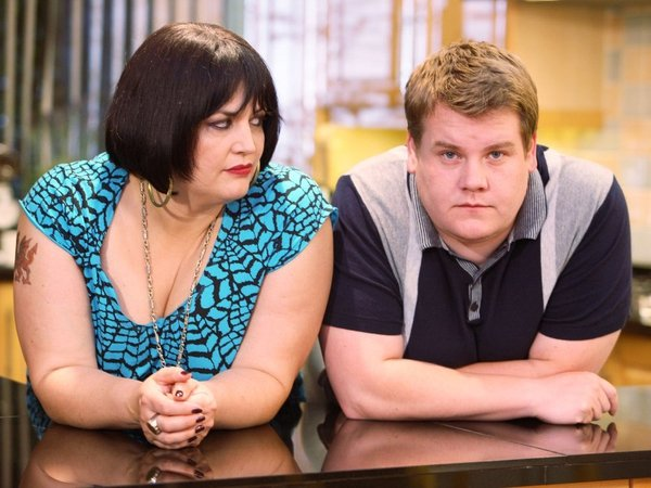 Ruth Jones pictured with co-star and co-writer James Corden