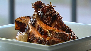 A fantastic dinner for all the family, Catherine Fulvio's Butterflied Leg of Lamb with Roasted Pumpkin