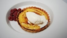 Lemon Curd Tartlet with Autumn Raspberries and Crème Chantilly