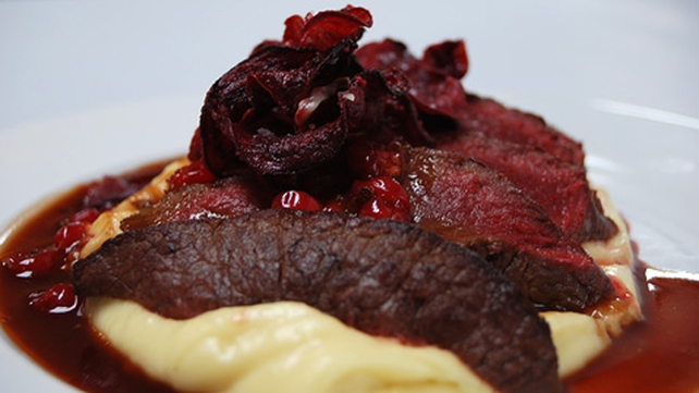 Seared Loin of Venison with Redcurrant Jus, Parsnip Purée and Crisp Beetroot