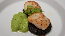 Pan Seared Scallops on Black Pudding, Mint Pea Puree, Chilli Oil Dressing