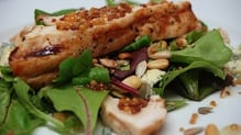 Warm Chicken Salad with Honey and Mustard Dressing, Toasted Pine Nuts and Cashel Blue Cheese