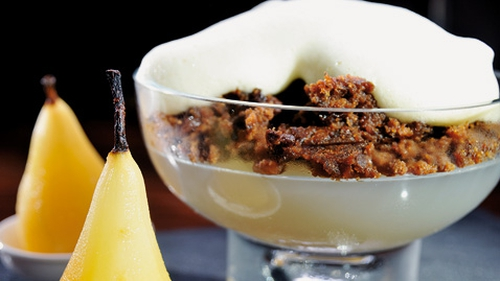 Richard Corrigan's Pear Jelly with Plum Pudding Crumble with Sabayon Sauce
