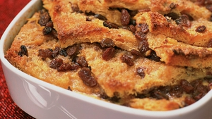 Chocolate Bread and Butter Pudding with Toasted Hazelnuts