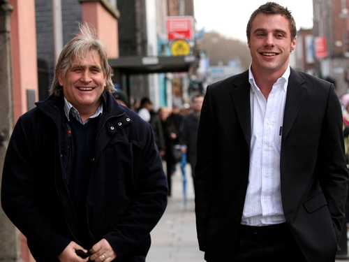 Tommy Bowe and Ospreys coach Scott Johnson at a recent ERC disciplinary hearing in which the winger was was cleared of a dangerous tackle