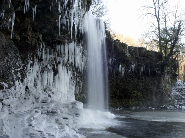 Wales - Waterfall froze in the Brecon Beacons mountain range