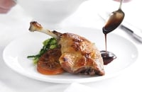 Roasted confit of duck with marmalade sauce - Served with pok choi and beech mushrooms. If you want to serve this marmalade sauce with the duck confit it is a good idea to make a double quantity. It keeps for up to a week in a rigid plastic container in the fridge and it is also s good with roast pork or even chicken.