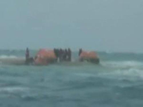 Stranded Crew - With their life rafts on rocks were rescued