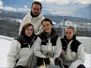 Aoife Hoey (centre) with her Irish Olympic bobsleigh squad - Leona Byrne (left) and Claire Bergin along with Olympic Council of Ireland CEO Stephen Martin