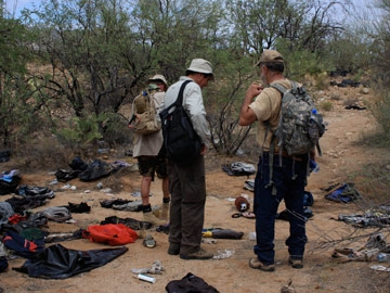 Charlie walks the migrant trail in the Sonora desert