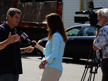 Charlie Bird being interviewed for the local Fox News channel