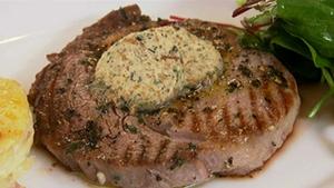 Grilled Rib-Eye Steak with Sauce Diane