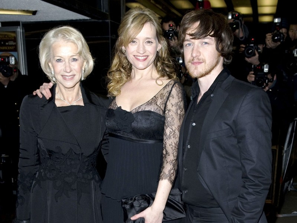 Helen Mirren, Anne-Marie Duff and James McAvoy pictured at the London premiere of 'The Last Station'