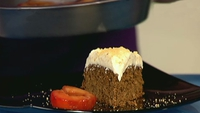 Ginger Cake with Orange Praline Frosting and Plums Roasted with Orange Liqueur - Decadence like this takes time!