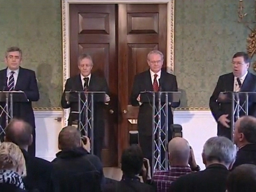 Hillsborough Castle - Leaders speak to reporters