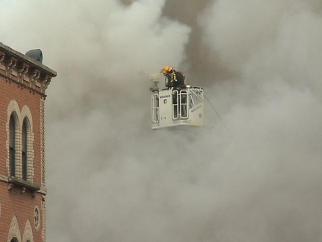 Capel Street - Fire Brigade tackles fire